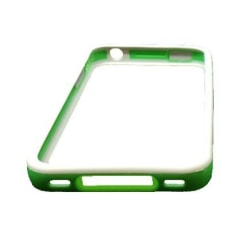Bumper till iPhone 4/4S med Metallknappar (Vit - Grön Kant)