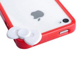 Cute Loop (Röd - Vit Rosett) iPhone 4/4S-Bumper