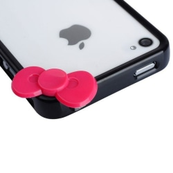 Cute Loop (Svart - Rosa Rosett) iPhone 4/4S-Bumper
