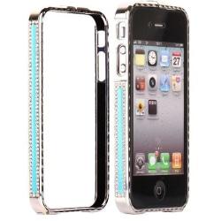 Diamond Edge (Ljusblå) Bling iPhone 4/4S Aluminium-Bumper
