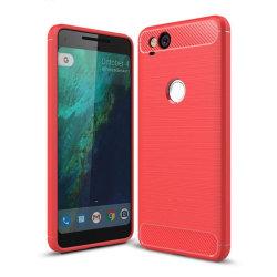 Google Pixel 2 Karbon fiber designat skal - Röd