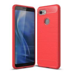 Google Pixel 3 mobilskal silikon kolfiber borstad - Röd