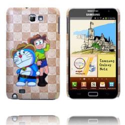 Happy Cartoon (Blå Katt & Cowboy) Samsung Galaxy Note Skal
