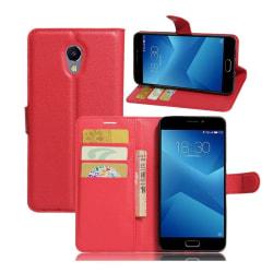 Meizu M5 Note Vikbart läder fodral - Röd