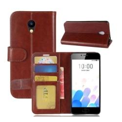 Meizu M5c Stilrent fodral med inbyggd plånbok - Brun
