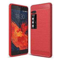 Meizu Pro 7 Plus Skal med unik karbon fiber textur - Röd