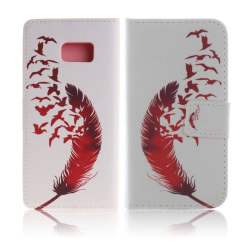Moberg Läderfodral för Samsung Galaxy Note 7 - Fjäder Fåglar