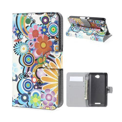 Moberg Sony Xperia E4 Fodral med Plånbok - Färgade Blommor