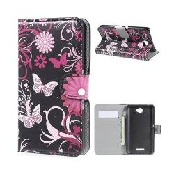 Moberg Sony Xperia E4 Fodral med Plånbok - Fjärilar & Blommo