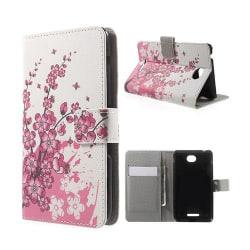 Moberg Sony Xperia E4 Fodral Med Plånbok - Plommon blommamor