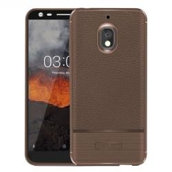 Nokia 2.1 mobilskal premium silikon litchi borstad - Brun