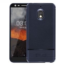 Nokia 2.1 mobilskal premium silikon litchi borstad - Mörkblå