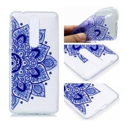 Nokia 5.1 mobilskal silikon tryckmönster - Blå lotus