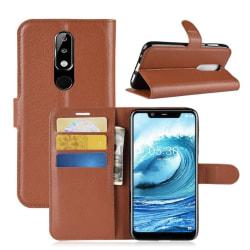 Nokia 5.1 Plus mobilfodral syntetläder silikon stående plånb