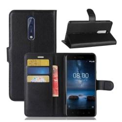 Nokia 8 Skinn fodral med plånbok - Svart