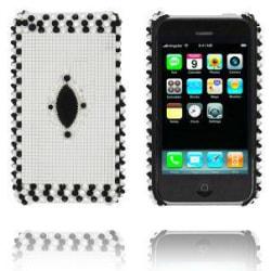 Royal Bling (Silver / Svarta Stenar) iPhone 3G/3GS Skal