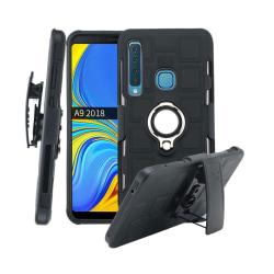 Samsung Galaxy A9 (2018) geometriskt combo fodral - Svart