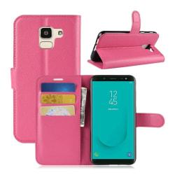 Samsung Galaxy J6 (2018) flipfodral i läderskinn - Ros