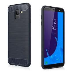 Samsung Galaxy J6 (2018) mobilskal TPU kolfiber borstad text