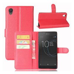 Sony Xperia L1 Läckert enfärgat skinn fodral - Röd