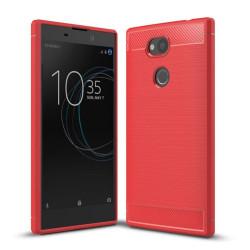 Sony Xperia L2 Skal med en karbon fiber design - Röd