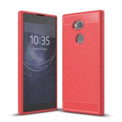 Sony Xperia XA2 Ultra Skal med karbonfiber stil - Röd