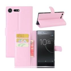 Sony Xperia XZ Premium Enfärgat skinn fodral - Ljus rosa
