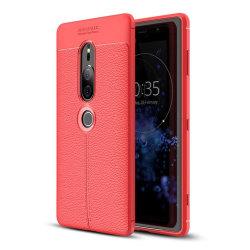 Sony Xperia XZ2 Premium mobilskal silikon litchi - Röd