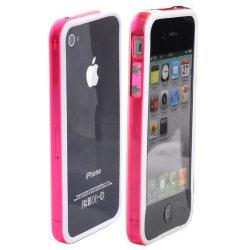 Transparent Color Edge Bumper (Vit - Rosa Kant) iPhone 4S-Bu