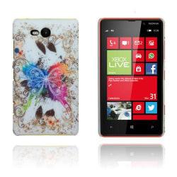 Valentine (Färgglad Fjäril - Vit) Nokia Lumia 820 Skal