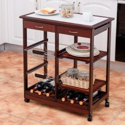 Köksvagn med hjul, två lådor, flaskhållare och fruktkorgshyllor