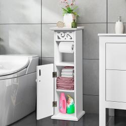 Badrumsförvaringsskåp med pappershållare Högt