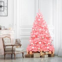 Julgran 180 cm 1036 grenar och metallbas,Rosa