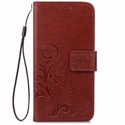 Huawei Honor 8 plånboksfodral wallet - fyrklöver brun Brun