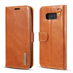 DG.MING Samsung Galaxy S8 detachable 2 in 1 läder - Camel Brun