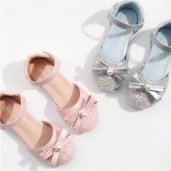 Kids Girls Party Wedding Princess Flat Shoes Casual Sandaler Silver 29
