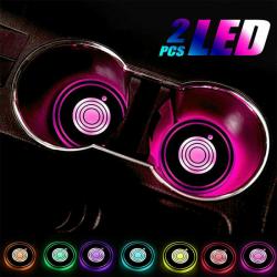 7 färger USB Cup Pad Car LED Light Cover Interior Decor Lights