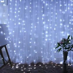 300 LED-lampor USB-stränghängande vägglampa Party Remote Ny white 3*3m 300 lights