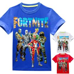 Kid Fortnite Print kortärmad tecknad sommar casual T-shirt blue 130cm