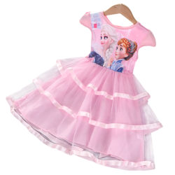 Baby Girls Kids Printed Dress Kortärmad gungklänning sommar Pink 3-4 Years