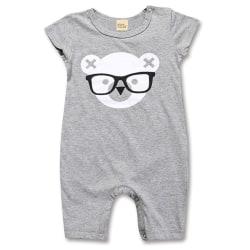 Baby leende tryck svart romper pyjamas Yellow 80 cm