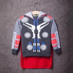 Barnpojkar Superhjälte T-shirt Toppar Hoodie Sweatshirt Jacka Coat Grey Thor 120cm