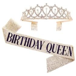 Födelsedagsfesttillbehör Dekorationsrem Crown Set gold QUEEN