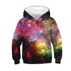 Pojkar Flickor 3D Grafisk Hoodie Sweatshirt Pullover Sweater Coat Cyan-Purple 13 - 14 Years