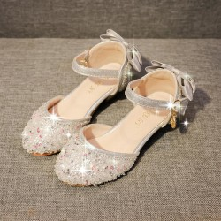 Barn Flickor Sequin Bling Princess Dress Party Crystal Shoes Silver 27