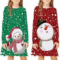 Julflicka långärmad prickiga klänning red S