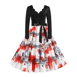 Julvita och röda tryckta eleganta tunika tunikaklänningar 2XL
