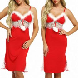 Kvinnors Xmas Underkläder Underkläder Seduction Babydoll Sexig Red M