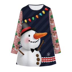 Christmas Xmas Kids Girls Dress Winter A Line Dress Snowman black M
