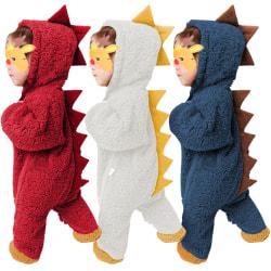 Klättring för spädbarn Dinosaur Hooded Jumpsuit Autumn Winter Outfits White 9-12 Months